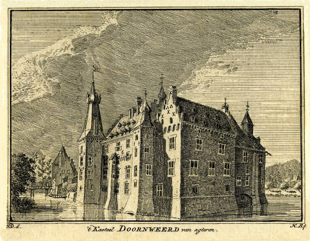 Kasteel Doorwerth in Doorwerth. Tekening Jan de Beijer, gravure Hendrik Spilman (Uit: Het Verheerlykt Nederland, Isaac Tirion, 1745/1774)
